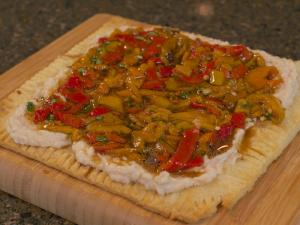 Sunset Grilled Sweet Pepper White Bean Flat Bread