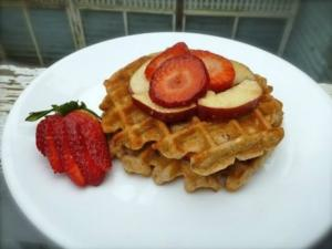 Gluten Free Apple Waffles With Fresh Fruit Salad