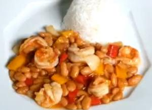 Shrimps with Baked Beans