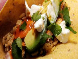 Chipotle Glazed Roast Chicken Tacos with Pumpkin Rice