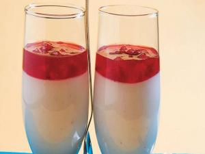 White Chocolate Mousse with Strawberry Sauce by Tarla Dalal