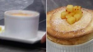 A deflated souffle on the right and a perfect one on the left
