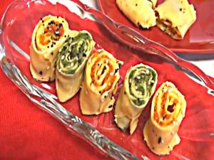 Khandvi - Tri-color Stuffed Khandvi