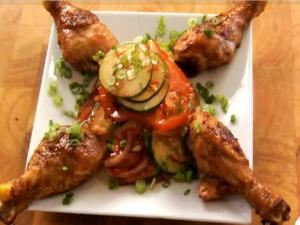 Honey and Hoisin Glazed Drumsticks with Asian Zesty Salad