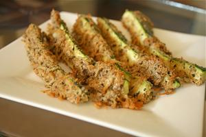 Oven fried zucchini is easy and quick to make
