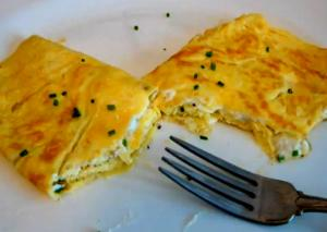 Thin Italian Omelette filled with Goat Cheese and Chives.