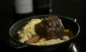 Braised Lamb Shank with Goat Cheese Polenta and Thyme Jus