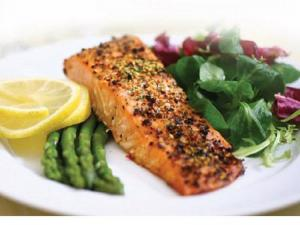 Pan Seared Salmon with Pea Shoots and Watercress
