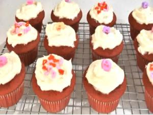 Red Cupcakes with Cream Cheese Frosting