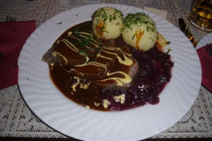 SAUERBRATEN WITH GINGERSNAP SAUCE