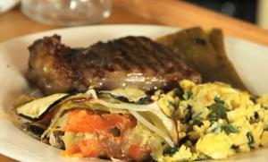 Steak, Eggs, Ratatouille And Fruit Salad
