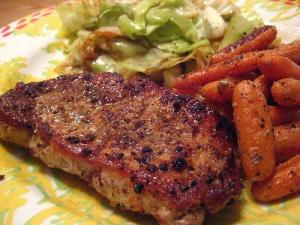 Glazed Smoked Pork with  Buttered Carrots and Cabbage