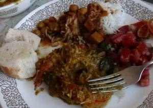Goan Coconut Shrimp Curry And Curried Garbanzo