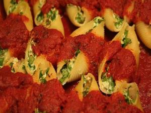 Pasta Shells Stuffed with Cheese In A Creamy Tomato Sauce