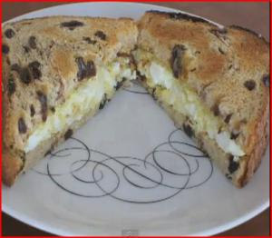 Easter Egg Salad Sandwich on Raisin Bread