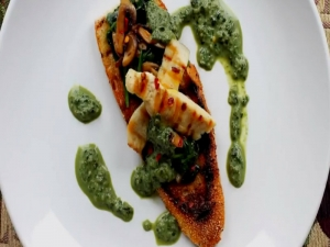Grilled Chicken Bruschetta with Basil Cream Sauce