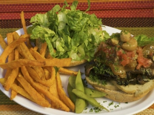 Raw Vegan Burger with French Fries