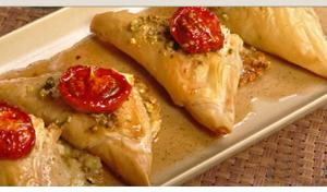 Sweet and Sour Tomatoes with Filo Wrapped Brie Cheese