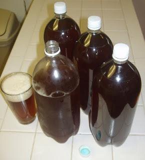Reusing soda bottles for storing beer!