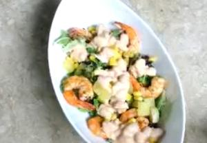 Baked Beans and Prawns Salad