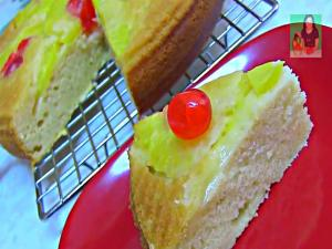 Eggless Pineapple Upside Down Cake