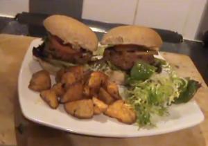 Vegetarian Bean Burgers With Sweet Potato Fries