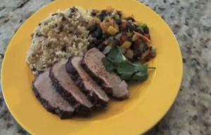 Jamaican Jerk Pork with Pilaf and Veggies