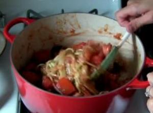 Zucchini Pasta in Tomato Sauce