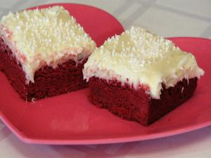 Red Velvet Sugar Cookie Bars with Cream Cheese Frosting - Valentine's Day