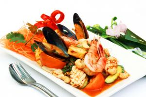 A delicious serving of Thai Seafood Salad