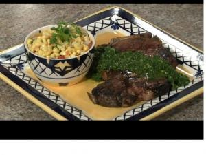 Grilled T-bone Steaks with Chimichurri Sauce