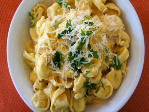 How to Make Tortellini with Pumpkin Alfredo Sauce