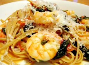Classic Shrimp Scampi On Garlic Spinach