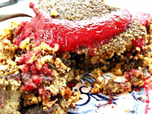 Raw Food Recipe Demo- Herbal Stuffing with Pomegranate Cran-Strawberry Sauce