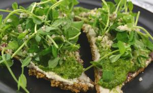Raw Pesto Pizza with Tomato Basil Crust