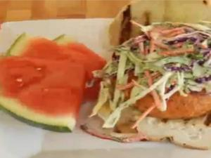 Grilled Sockeye Salmon Burger with Fresh Dill Coleslaw