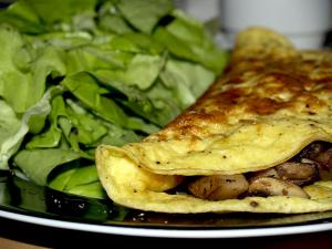 Crispy Chicken Skin And Mushroom Omelette