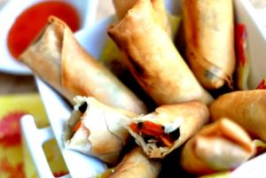 Oriental Eggplant and Carrot Spring Rolls