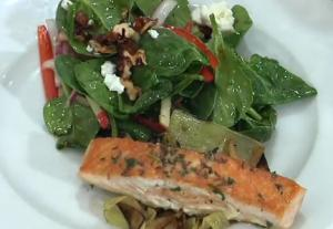 Pan Fried Caraway Crusted Salmon with Caramelized Apples and Veggies