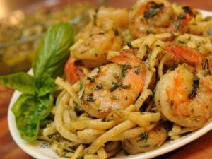 Pesto, Pasta and Shrimp