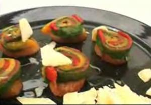 Tricolor Pepper Crostini