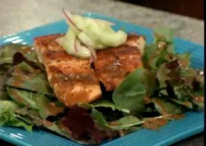 Seared Salmon on Cucumber Salad
