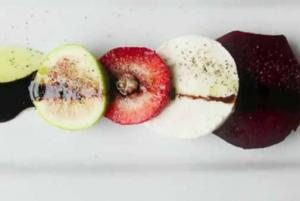 Mozzarella Salad With Roasted Beets, Strawberries And Figs