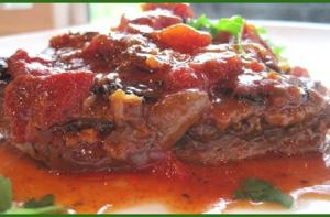 London Broil With Mushroom-Tomato Sauce