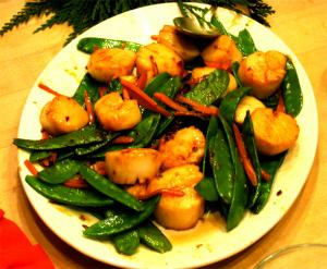 Scallops With Red Peppers And Snow Peas
