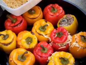 Bell Peppers Stuffed With Sticky Rice And Sweet Sausage