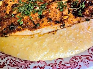 Cajun Fish and Savory Cheese Grits