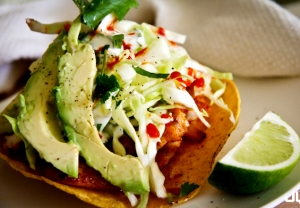 Spicy Fish Tostada with Cabbage
