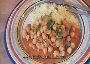 Garbanzo Sausage Stew with Saffron Rice