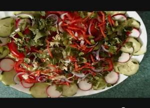 Vegetarian Mexican dinner - Lasagna, salad & dessert